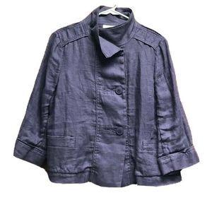 Coldwater Creek Women Jacket Purple Button Linen S